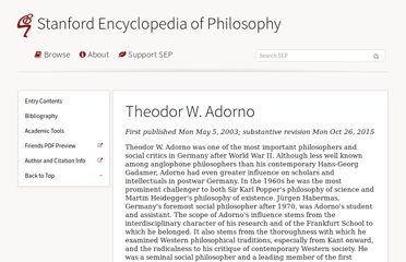 http://plato.stanford.edu/entries/adorno/