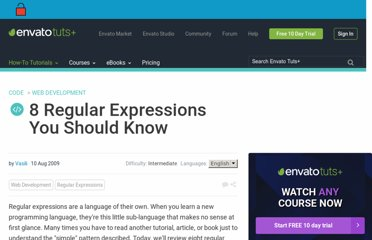 http://net.tutsplus.com/tutorials/other/8-regular-expressions-you-should-know/