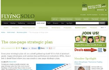http://www.flyingsolo.com.au/working-smarter/business-plans/one-page-strategic-plan