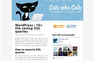 http://www.catswhocode.com/blog/wordpress-10-life-saving-sql-queries