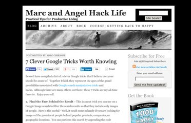 http://www.marcandangel.com/2007/07/25/7-clever-google-tricks-worth-knowing/