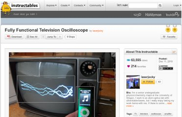 http://www.instructables.com/id/Fully-Functional-Television-Oscilloscope/