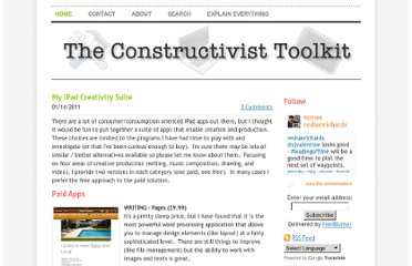 http://www.constructivisttoolkit.com/1/post/2011/01/my-ipad-creativity-suite.html