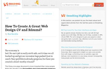 http://www.smashingmagazine.com/2009/04/01/10-handy-tips-for-web-design-cvs-and-resumes/
