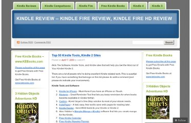http://ireaderreview.com/2009/04/17/top-50-kindle-tools-kindle-2-websites/