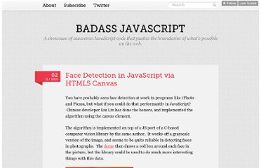 http://badassjs.com/post/1461943420/face-detection-in-javascript-via-html5-canvas