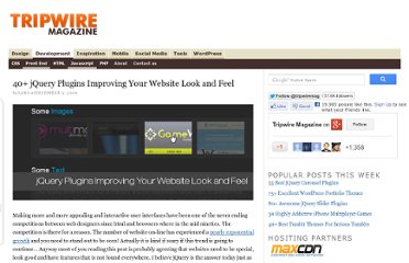 http://www.tripwiremagazine.com/2009/12/40-jquery-plugins-improving-your-website-look-and-feel.html