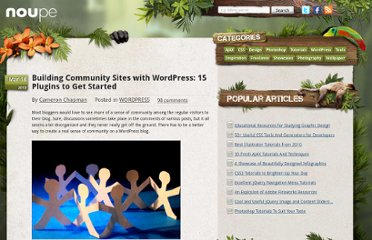 http://www.noupe.com/wordpress/building-community-sites-with-wordpress-15-plugins-to-get-started.html