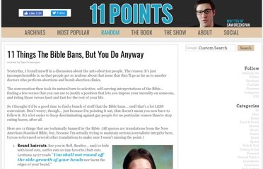http://www.11points.com/Books/11_Things_The_Bible_Bans,_But_You_Do_Anyway