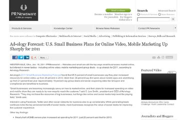 http://www.prnewswire.com/news-releases/ad-ology-forecast-us-small-business-plans-for-online-video-mobile-marketing-up-sharply-for-2011-114127449.html