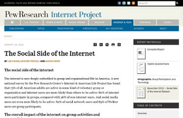 http://pewinternet.org/Reports/2011/The-Social-Side-of-the-Internet/Summary.aspx
