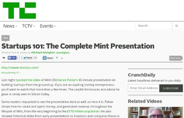 http://techcrunch.com/2009/10/08/startups-101-the-complete-mint-presentation/