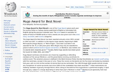 http://en.wikipedia.org/wiki/Hugo_Award_for_Best_Novel