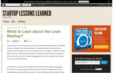 http://www.startuplessonslearned.com/2009/12/what-is-lean-about-lean-startup.html