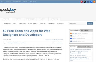 http://speckyboy.com/2011/01/19/50-free-tools-and-apps-for-web-designers-and-developers/