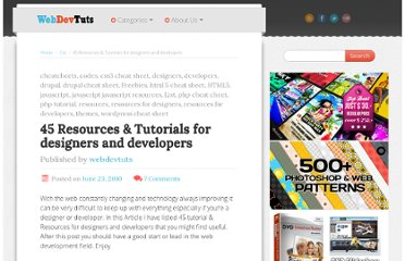 http://www.webdevtuts.net/freebies/45-resources-tutorials-for-designers-and-developers/