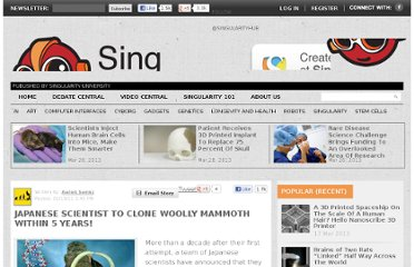 http://singularityhub.com/2011/01/19/japanese-scientist-wants-to-clone-a-woolly-mammoth-in-the-next-five-years/
