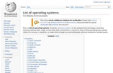 http://en.wikipedia.org/wiki/List_of_operating_systems