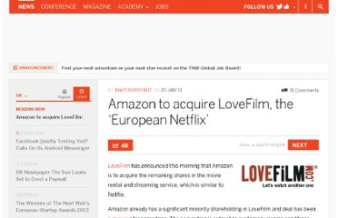 http://thenextweb.com/uk/2011/01/20/amazon-to-acquire-lovefilm-the-european-netflix/