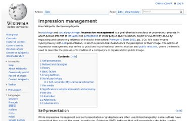 http://en.wikipedia.org/wiki/Impression_management