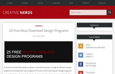 http://creativenerds.co.uk/freebies/25-free-must-download-design-programs/