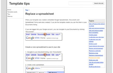 http://sites.google.com/site/sitetemplateinfo/tips/replace-spreadsheet