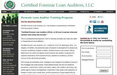 http://www.certifiedforensicloanauditors.com/5.0_forensic_loan_auditor_certification_training_program_namu.html