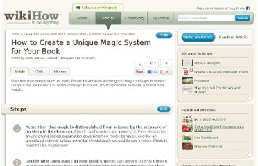 http://www.wikihow.com/Create-a-Unique-Magic-System-for-Your-Book