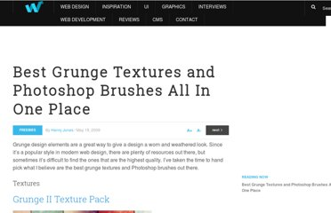 http://webdesignledger.com/freebies/best-grunge-textures-and-photoshop-brushes-all-in-one-place
