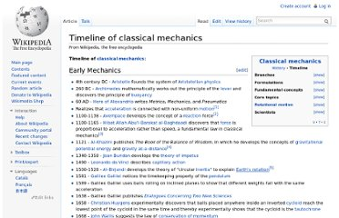 http://en.wikipedia.org/wiki/Timeline_of_classical_mechanics
