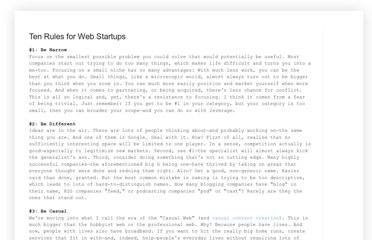 http://evhead.com/2005/11/ten-rules-for-web-startups.asp