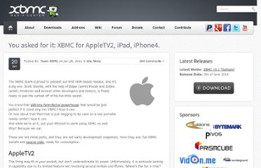 http://xbmc.org/theuni/2011/01/20/you-asked-for-it-xbmc-for-appletv2-ipad-iphone4/