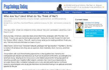 http://www.psychologytoday.com/articles/201012/who-are-you-and-what-do-you-think-me