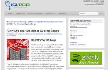 http://www.indoorcycleinstructor.com/icipro-instructor-training/music/top-100-spinning-songs/