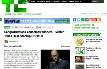 http://techcrunch.com/2011/01/21/congratulations-crunchies-winners-twitter-takes-best-startup-of-2010/