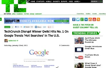 http://techcrunch.com/2011/01/22/techcrunch-disrupt-winner-qwiki-hits-no-1-on-google-trends-hot-searches-in-the-u-s/
