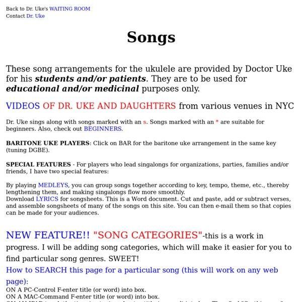 Ukulele ukulele chords hand position : DR. UKE SONGS WITH UKULELE CHORD DIAGRAMS | Pearltrees