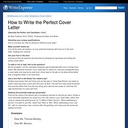 writing the perfect cover letter cover letter for a writer stonewall services 25851