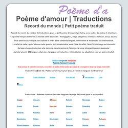 Traduction d'un poème d'amour et record du monde. Record du monde ...