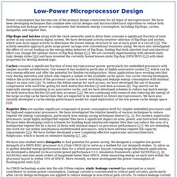Low Power Design Techniques for Microprocessors