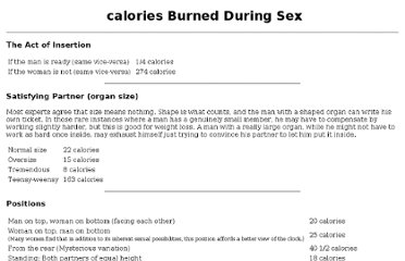 calories burnt from sex
